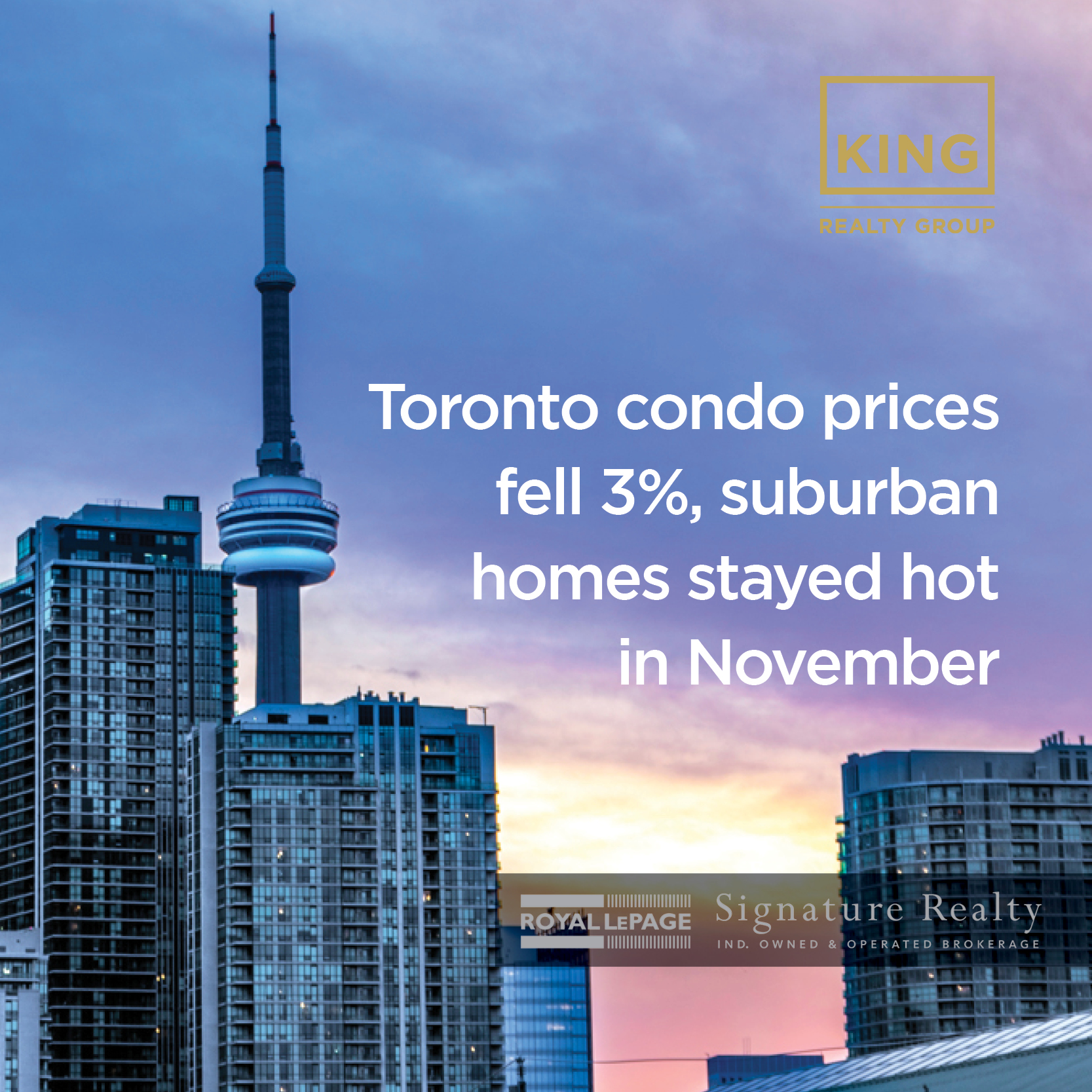 Toronto condo prices fell 3%, suburban homes stayed hot in November